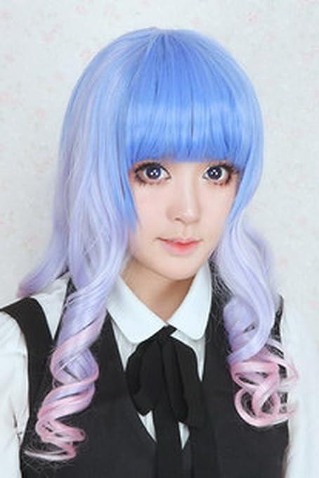 Larga recta peluca azul cosplay japonés Harajuku peluca Lori Ta Sen Gradiente femenino cosplay peluca