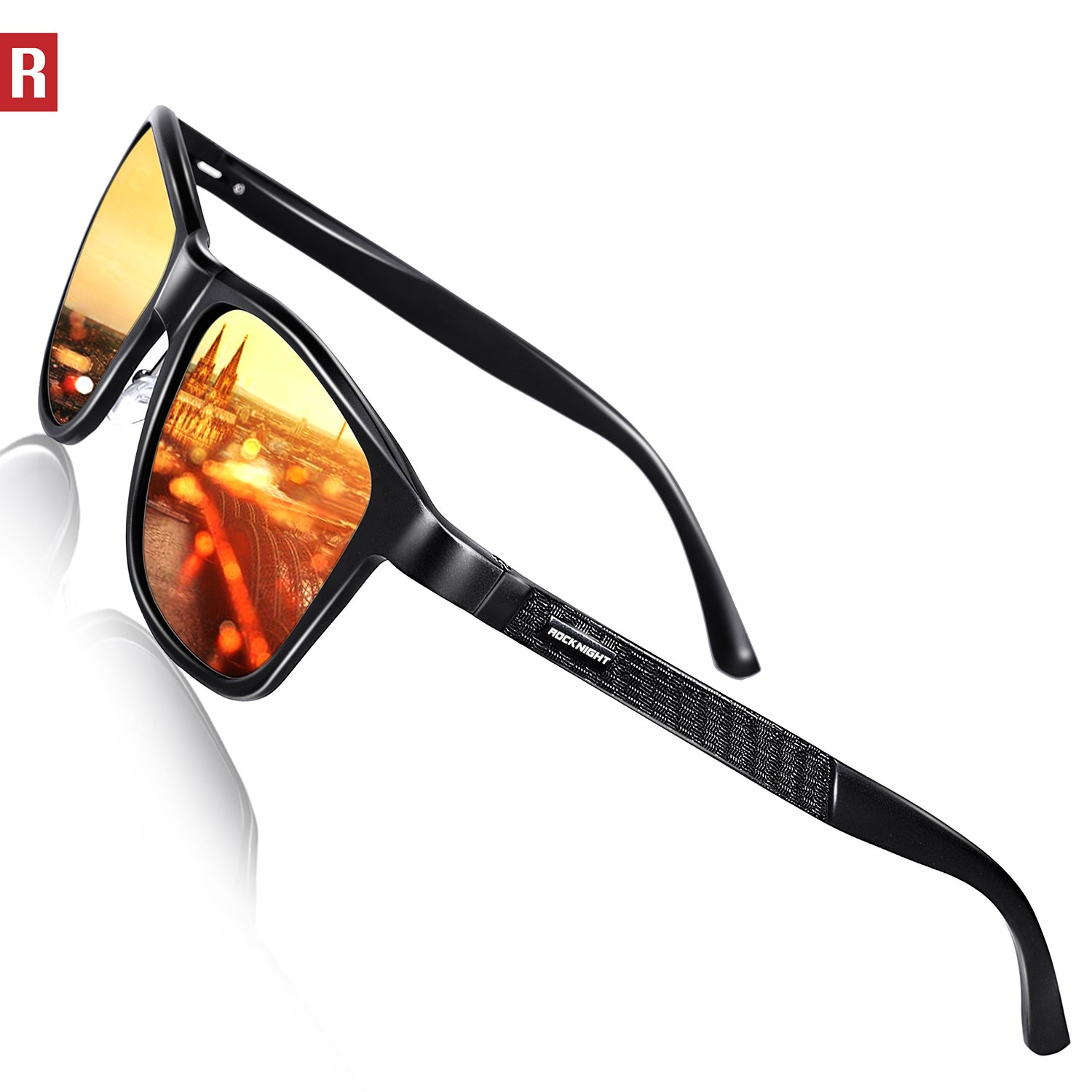 5756a996685 Amazon.com  ROCKNIGHT Driving Polarized Sunglasses for Men Women Metal Frame  Red Lens Sunglasses UV Protection Outdoor Casual  Sports   Outdoors