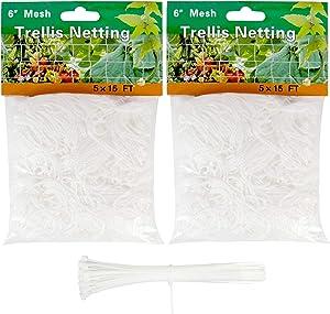 YHmall Garden Trellis Netting 5 x 15 Ft, Heavy Duty Polyester Plant Support Netting Square Mesh, Grow Net for Support Vine Climbing Plant Vegetable and Flower (2 Pack, White)