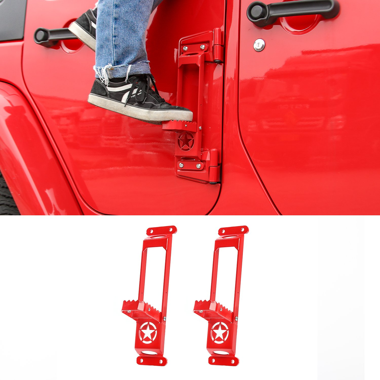 Door Hinge Step Foot Peg Folding Foot Pedal, Easy Access to Car Rooftop for 2007-2018 Jeep Wrangler JK JKU JL JLU (2 Pack, Red) by RT-TCZ