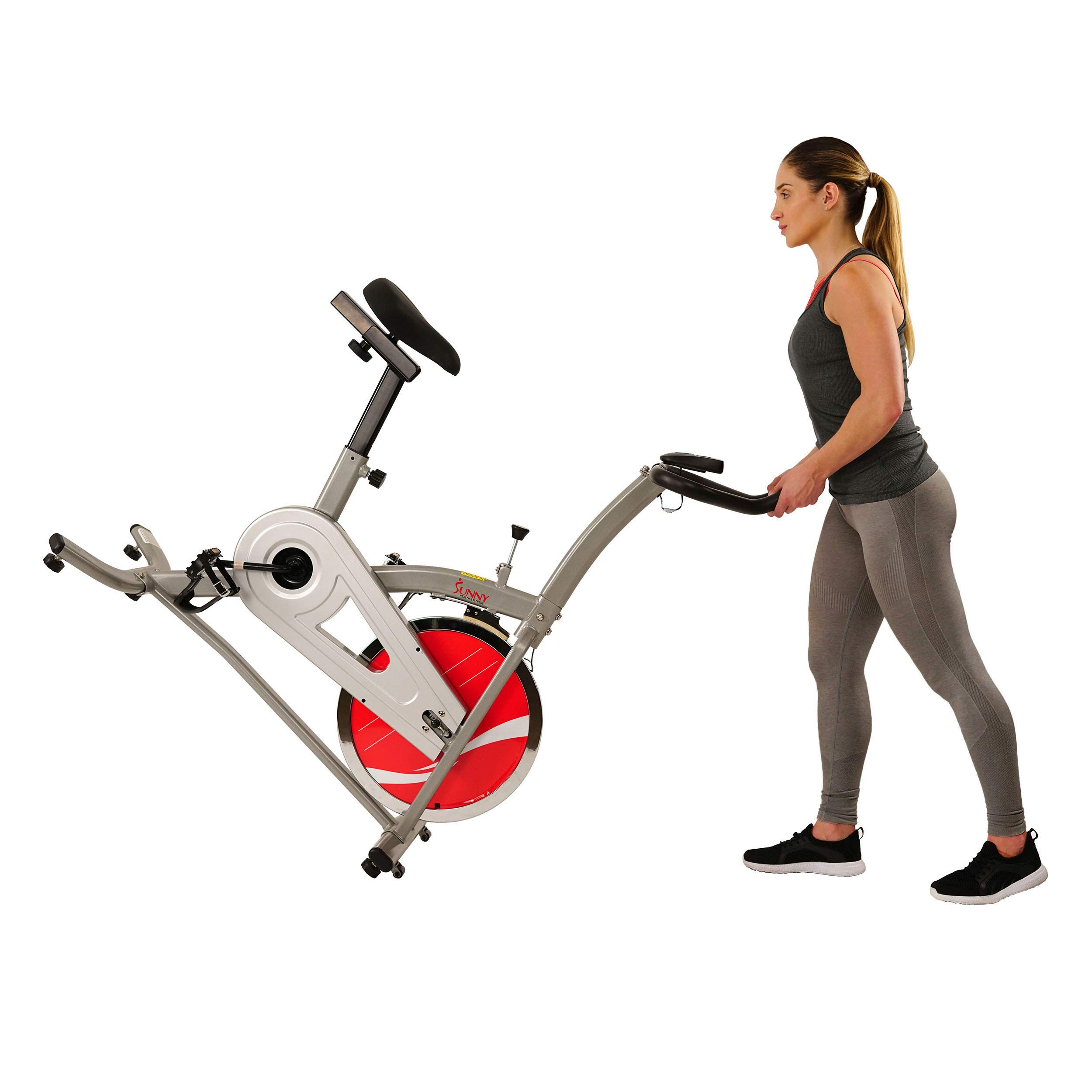 Sunny Health & Fitness Indoor Cycling Exercise Stationary Bike with Monitor and Flywheel Bike - SF-B1203 by Sunny Health & Fitness (Image #8)