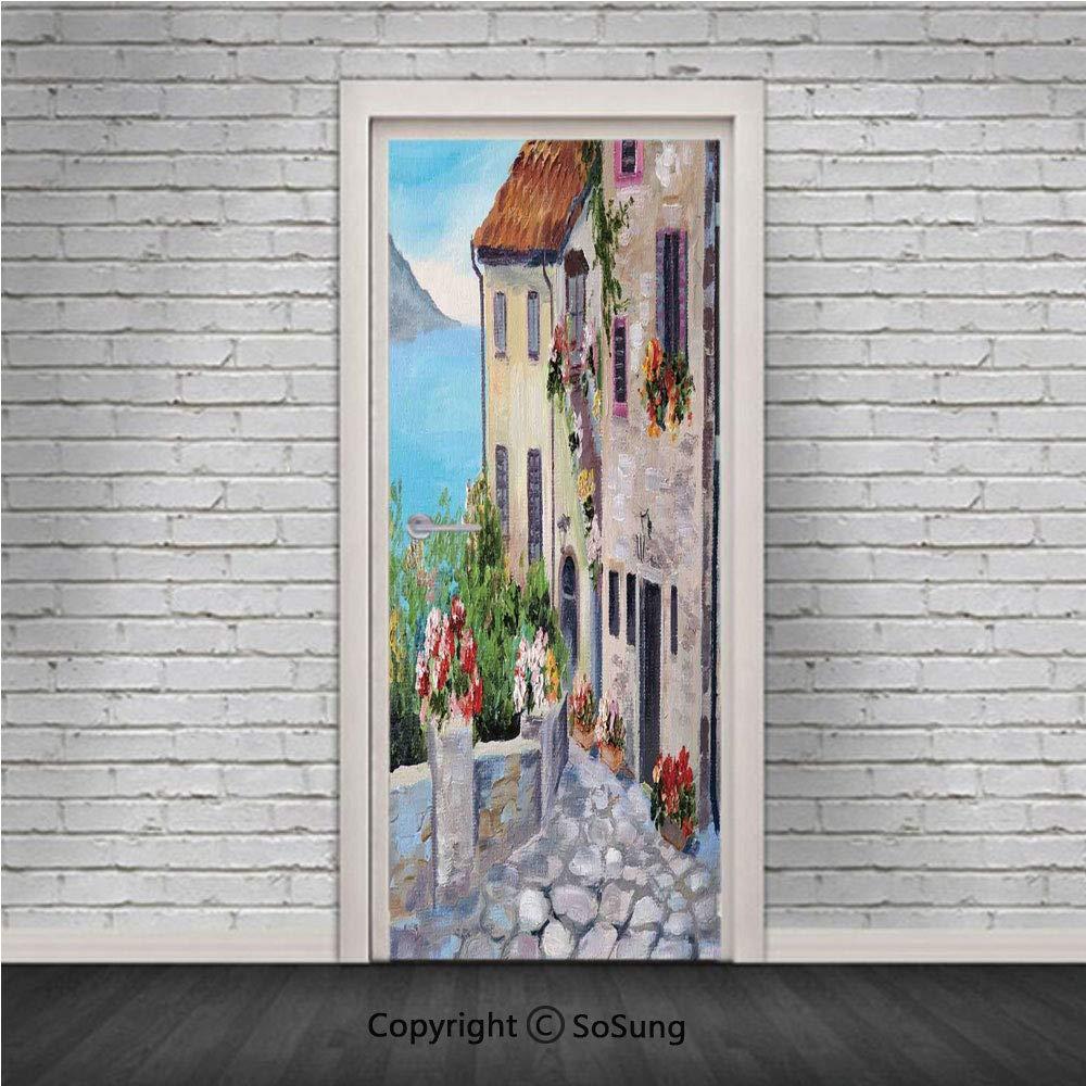 Amazon com: Rustic Door Wall Mural Wallpaper Stickers,Old Houses in
