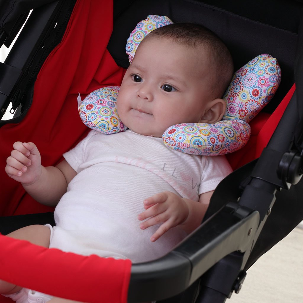 Flower Infant Head and Neck Support Pillow for Car Seat for 0-1 Years Old Baby vocheer Baby Travel Pillow Newborn Pushchair Car Seat Insert Pillow