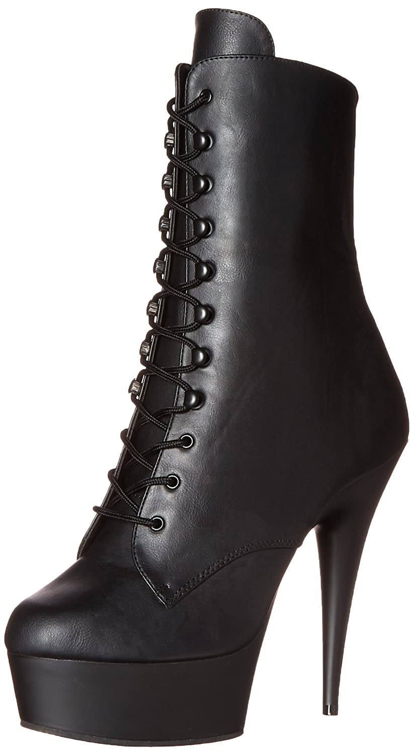 Pleaser Delight-1020 - Botas Mujer39 EU|Negro (Schwarz (Blk Faux Leather/Blk Matte))