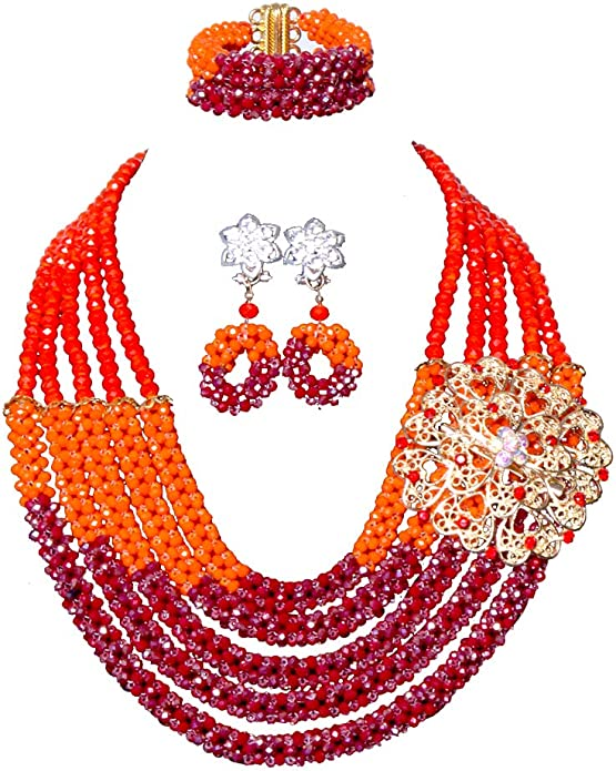African Bridal Jewelry For Women Womens Blue African Jewellery Set Netting Beaded Necklace Set For Mother\u2019s Day