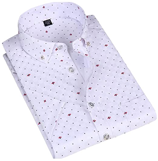 91e8dac7 Image Unavailable. Image not available for. Color: M&S&W Men Short Sleeve  Print Button Down Collar Non-Iron Dress Shirts ...