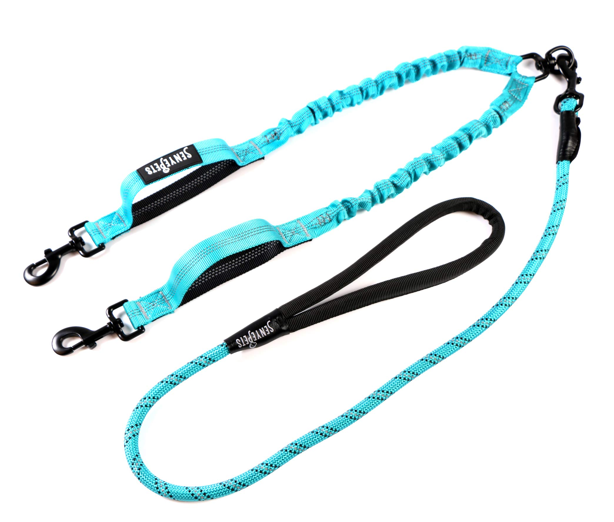 SENYEPETS Double Dual Dog Leash Comfortable Shock Absorbing Reflective Bungee Two Dogs (Blue)