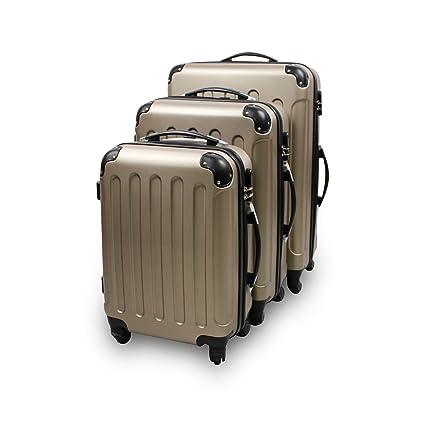 Todeco - Juego de Maletas, Equipajes de Viaje - Material: Plástico ABS - Tipo de Ruedas: 4 Ruedas de rotación de 360 ° - 51 61 71 cm, Champán, ABS, ...