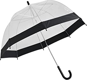 Home-X - Clear Bubble Umbrella with Black Trim, Durable Wind-Resistant Umbrella with Sturdy Bubble Design Incapable of Flipping Inside Out, for Men and Women of All Ages