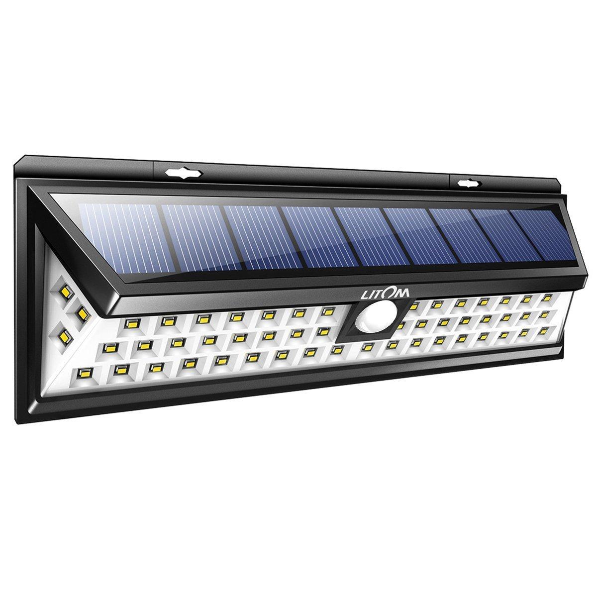 Wireless Outdoor Garage Lights: LITOM Solar Lights Outdoor, 54 LED Super Bright