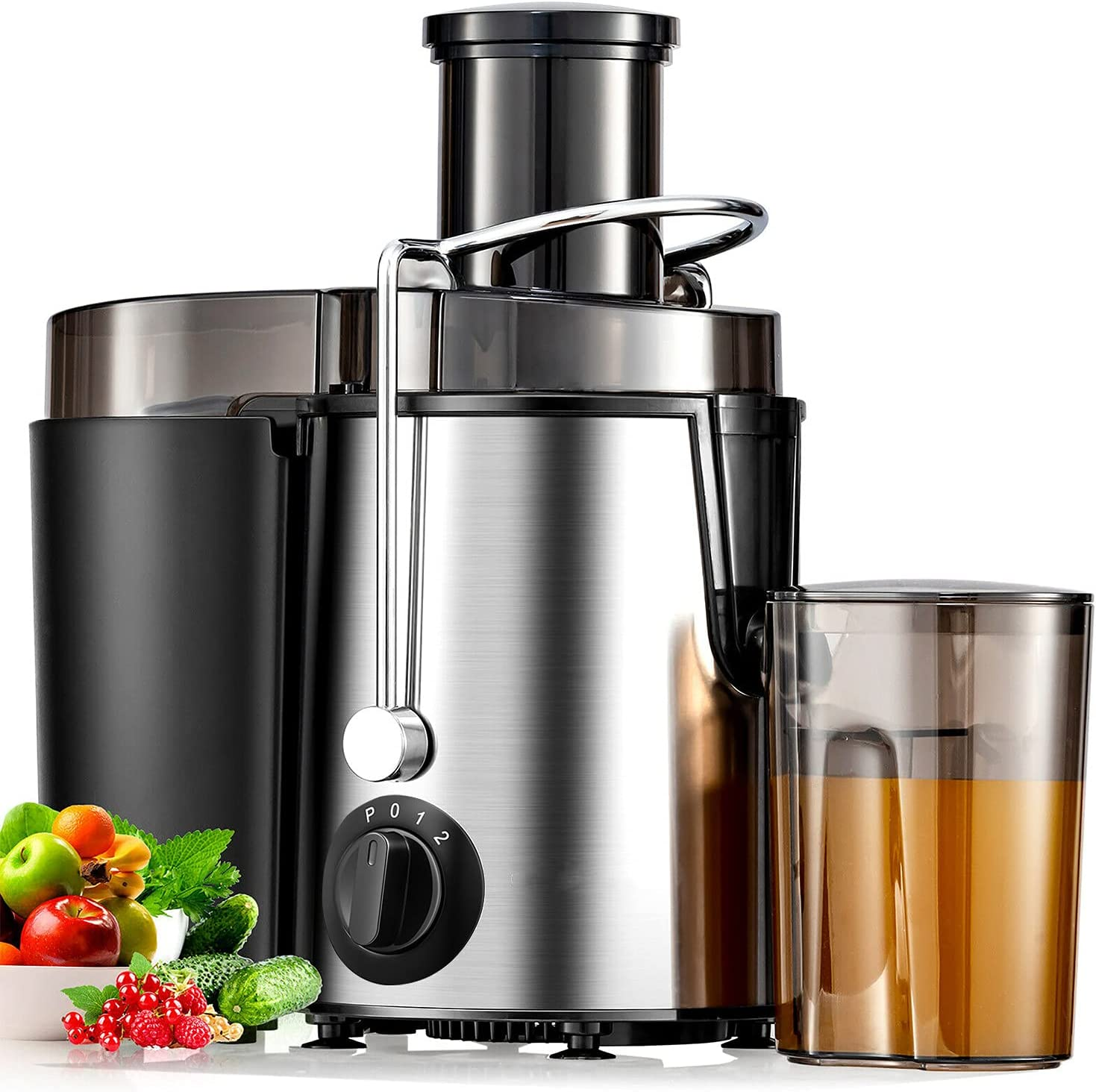 """Juicer Machine, 400W Juicer with Big Mouth Large 3""""Feed Chute for Whole Fruit and Vegetables Easy to Clean, Stainless Steel Centrifugal Juicer, BPA Free, Non-slip Feet, Silver"""