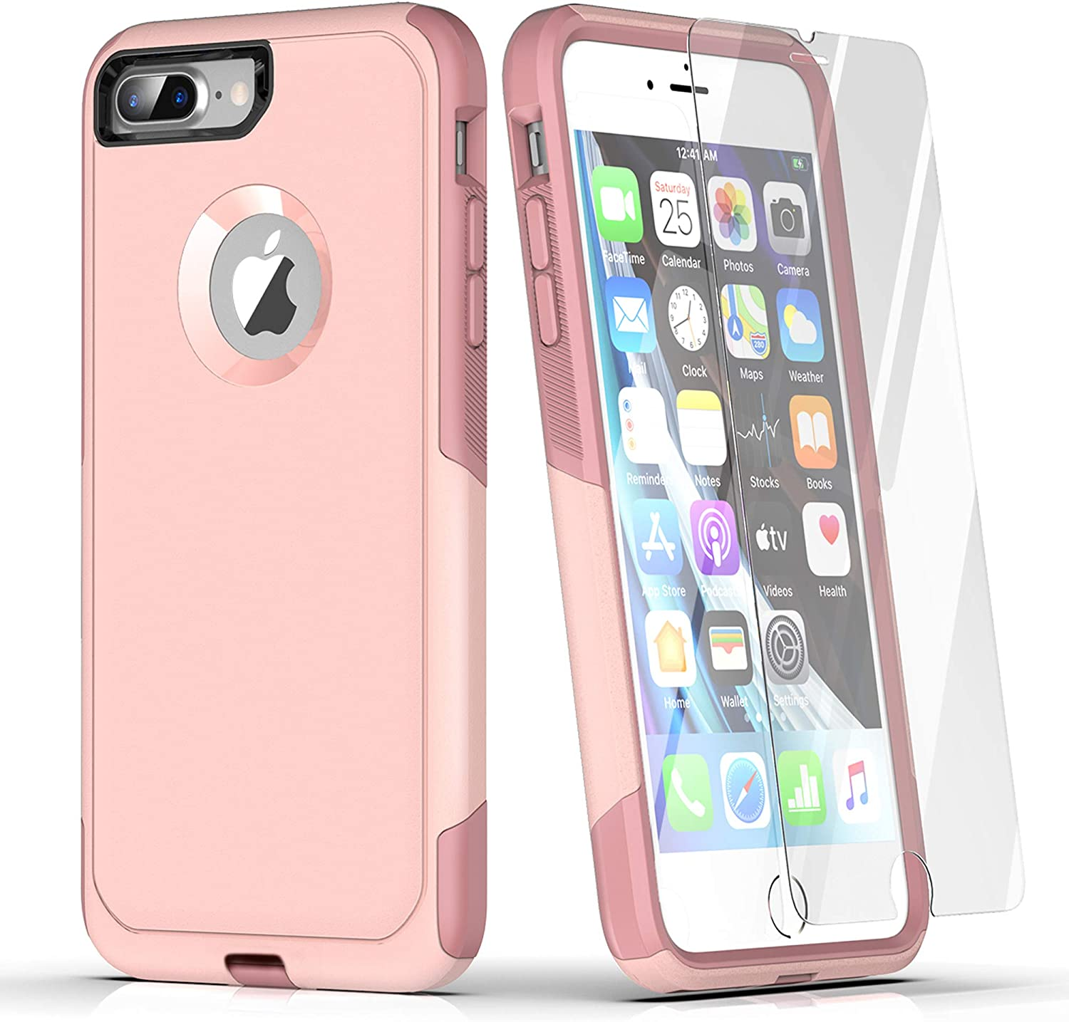 Laiture Phone Case with Screen Protector, Compatible with iPhone 8 Plus Case & iPhone 7 Plus Case – Pioneer Series Shockproof Double Layer Shell Protective Case(iPhone 7P/8P, Pink Blush)