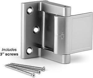 Berlin Modisch Door Lock Reinforcer Privacy Door Latch for in-Swinging Doors Extra High Resistance Home Door Security Lock Brushed Nickel Finish
