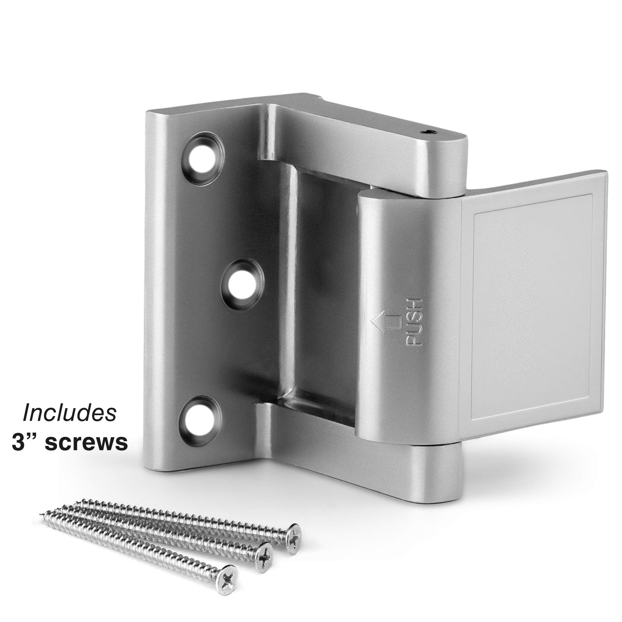 Berlin Modisch Door Lock Reinforcer Privacy Door Latch for in-Swinging Doors Extra High Resistance Home Door Security Lock Brushed Nickel Finish