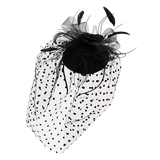 deb64bc1c539d Image Unavailable. Image not available for. Color  Homyl Retro Black  Birdcage Feather Flower Net Veil Mini Top Hat ...