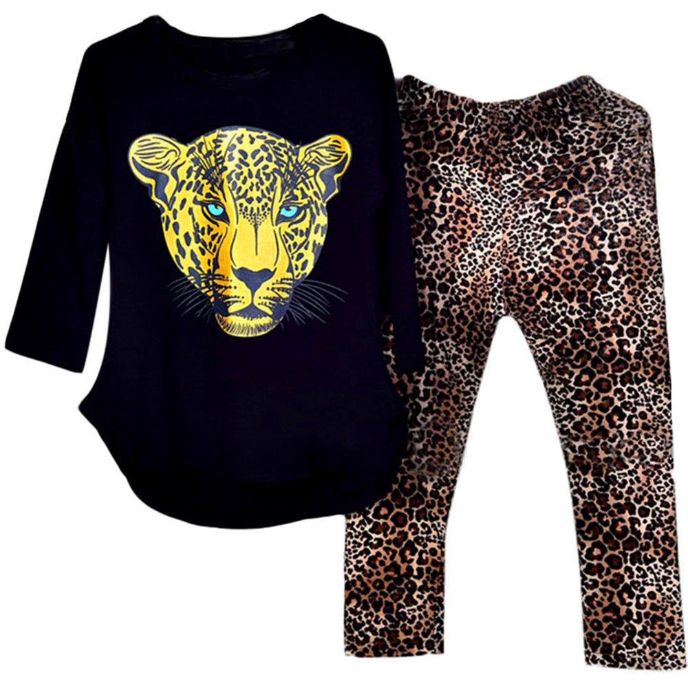 Kidlove Leopard Head Print T-Shirt Skinny Leopard Print Pants Girls Clothing Set (2-3Years, Black)