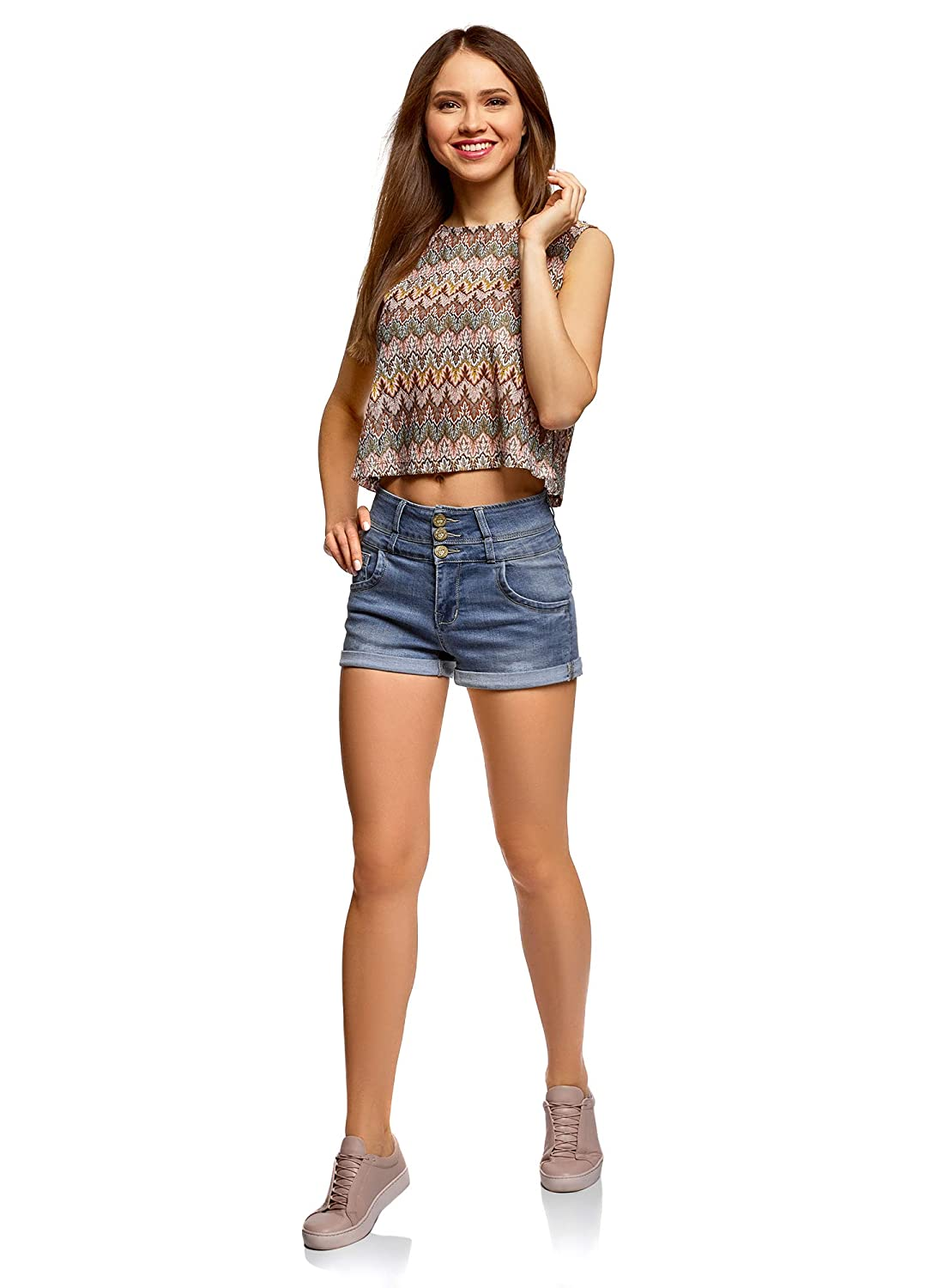 oodji Ultra Donna Shorts in Jeans con Vita Alta