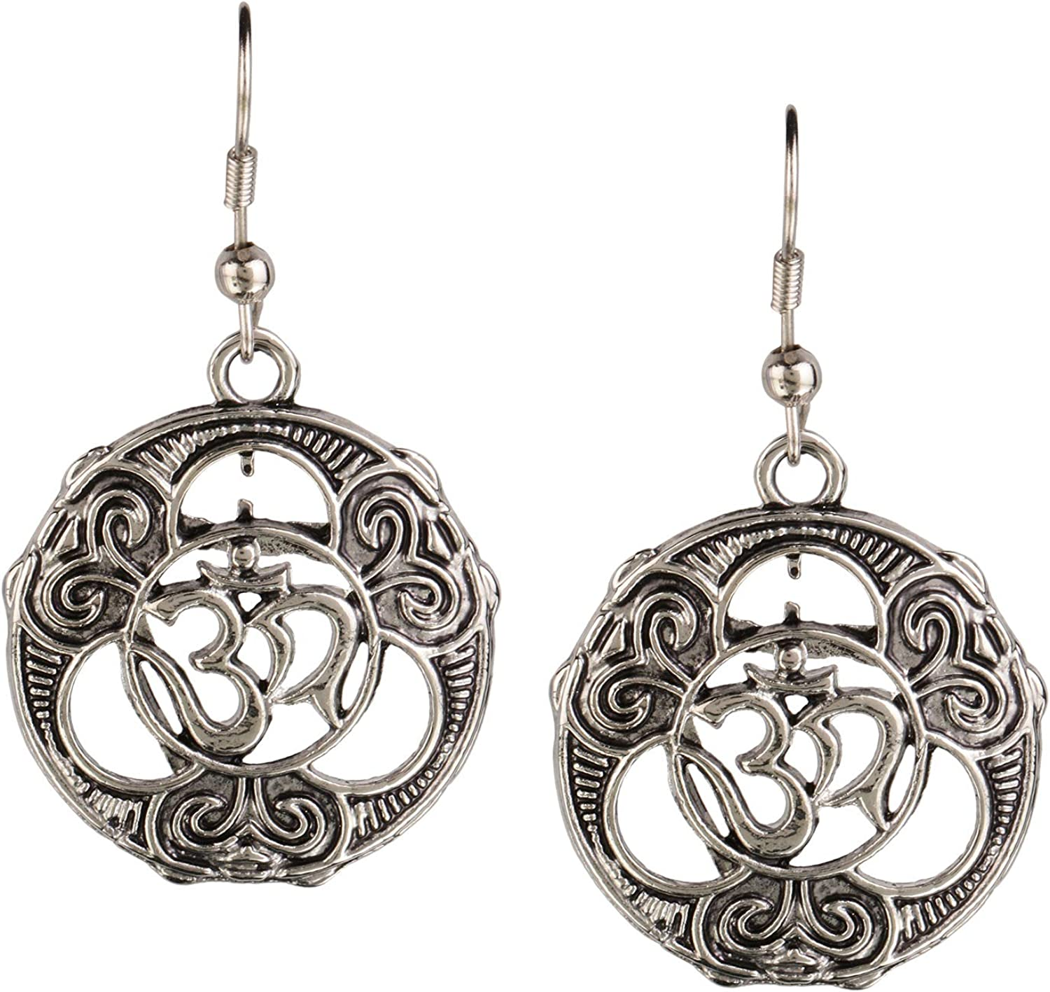 Efulgenz Boho Vintage Antique Ethnic Gypsy Tribal Indian Oxidized Silver OM Religious Dangle Earrings Jewelry