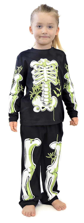 Boys Skeleton Glow In The Dark Cotton Pyjamas Ages 3-12 Years (5-6 Years)