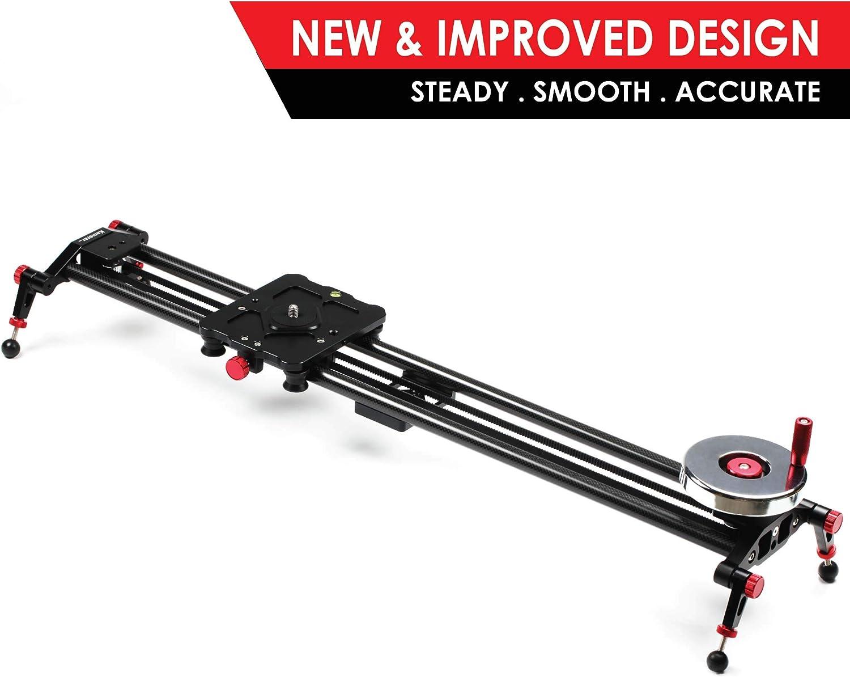 "Kamerar 31"" Fluid Motion Video Slider: flywheel, counterweight, light carbon fiber rails, adjustable legs, dslr camera/camcorder stabilization track, tripod mount ready, stabilizer for filming"