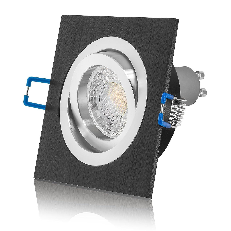 10 x LED Einbaustrahler Set schwarz schwarz schwarz dimmbar inkl. Einbaurahmen 230V 7W GU10 (10er Set 3000K) 8deef4