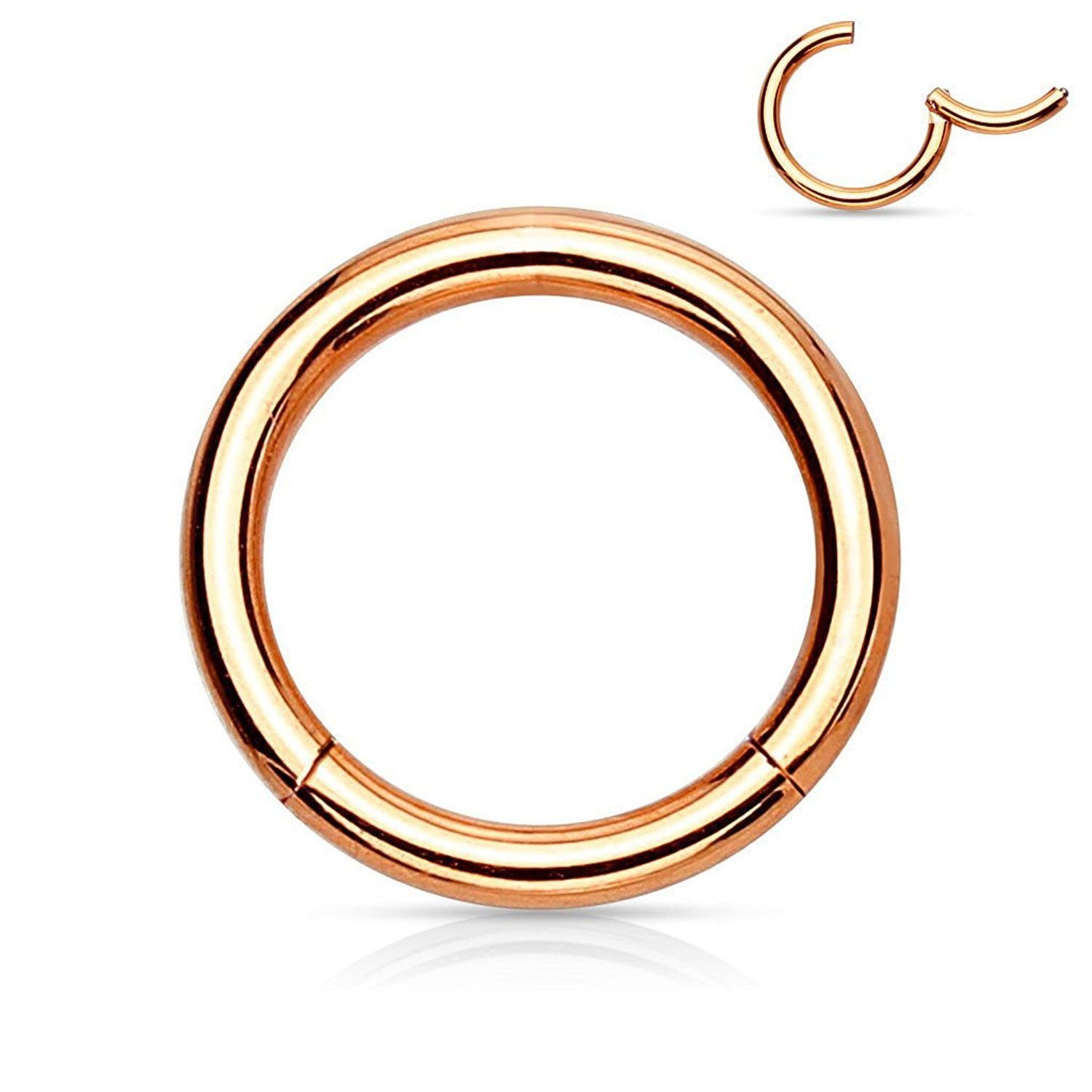 Steel Rose Gold IP Hinged Clicker Segment Septum Lip Nose Hoop Ring Helix Daith Cartilage Tragus 20G-18G-16G-14G-12G-10G All Lengths Available B07C84HN46 14GA (1.6mm) 8mm  14GA (1.6mm) 8mm
