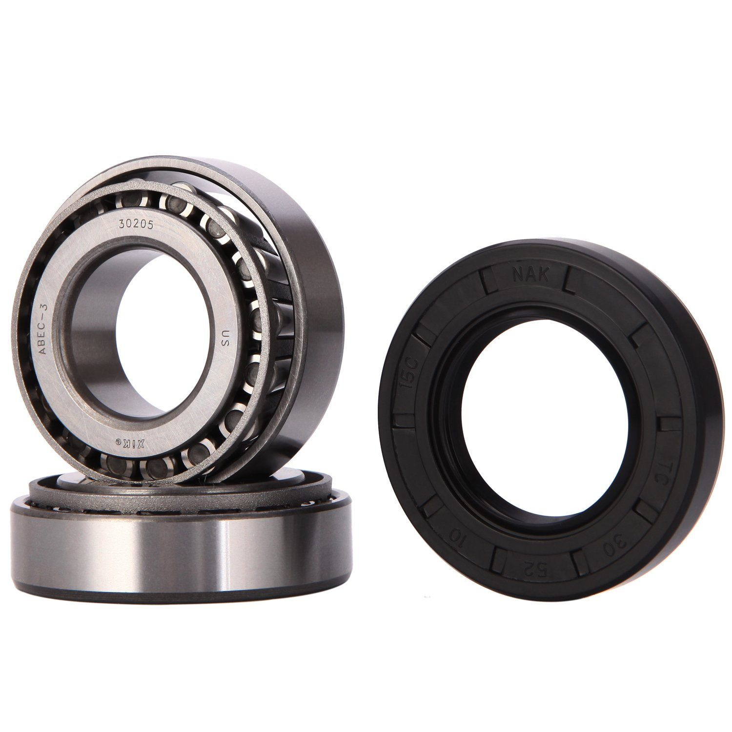 XiKe 25mm Axle Wheel Bearings Kit, 30205 25x52x16.25mm and Seal TC 30x52x10mm, Rotary Quiet High Speed and Long Life, Tapered Roller Bearings.
