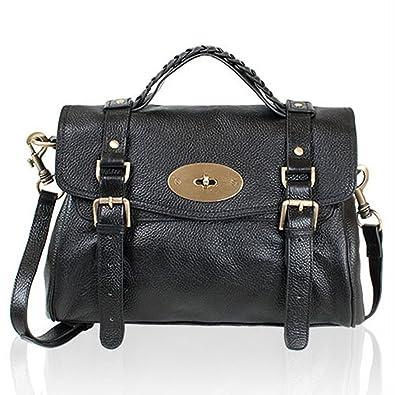 Leather Satchel Shoulder Daily Handbag Medium (black): Handbags ...