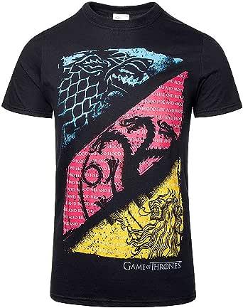 Game Of Thrones Juego de Tronos Diagonal Sigilos Camiseta Negro: Amazon.es: Ropa y accesorios