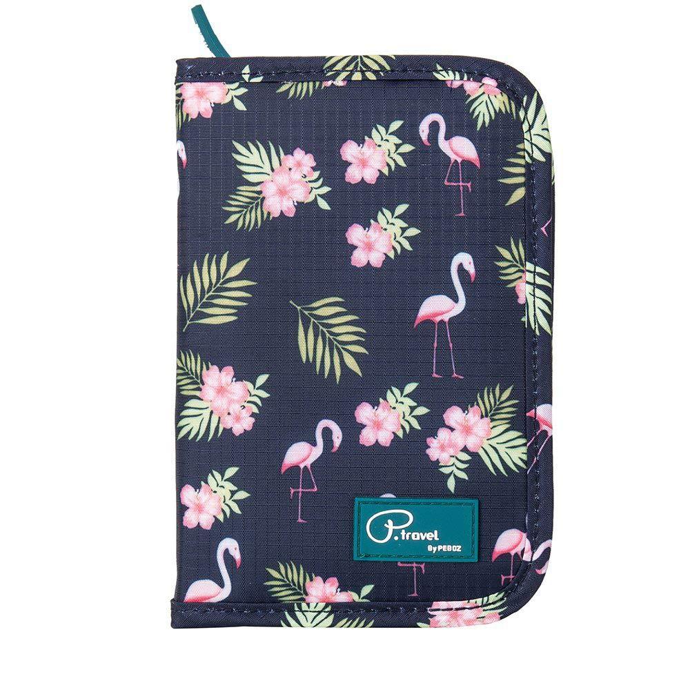 Passport Wallet Holder for Men&Women,RFID Blocking Travel Waterproof Credit Card&Money Bag Multifunctional Family Zipper Cellphone Accessories Storage Boarding Passes Organizer (Flamingo) by Mirabelly