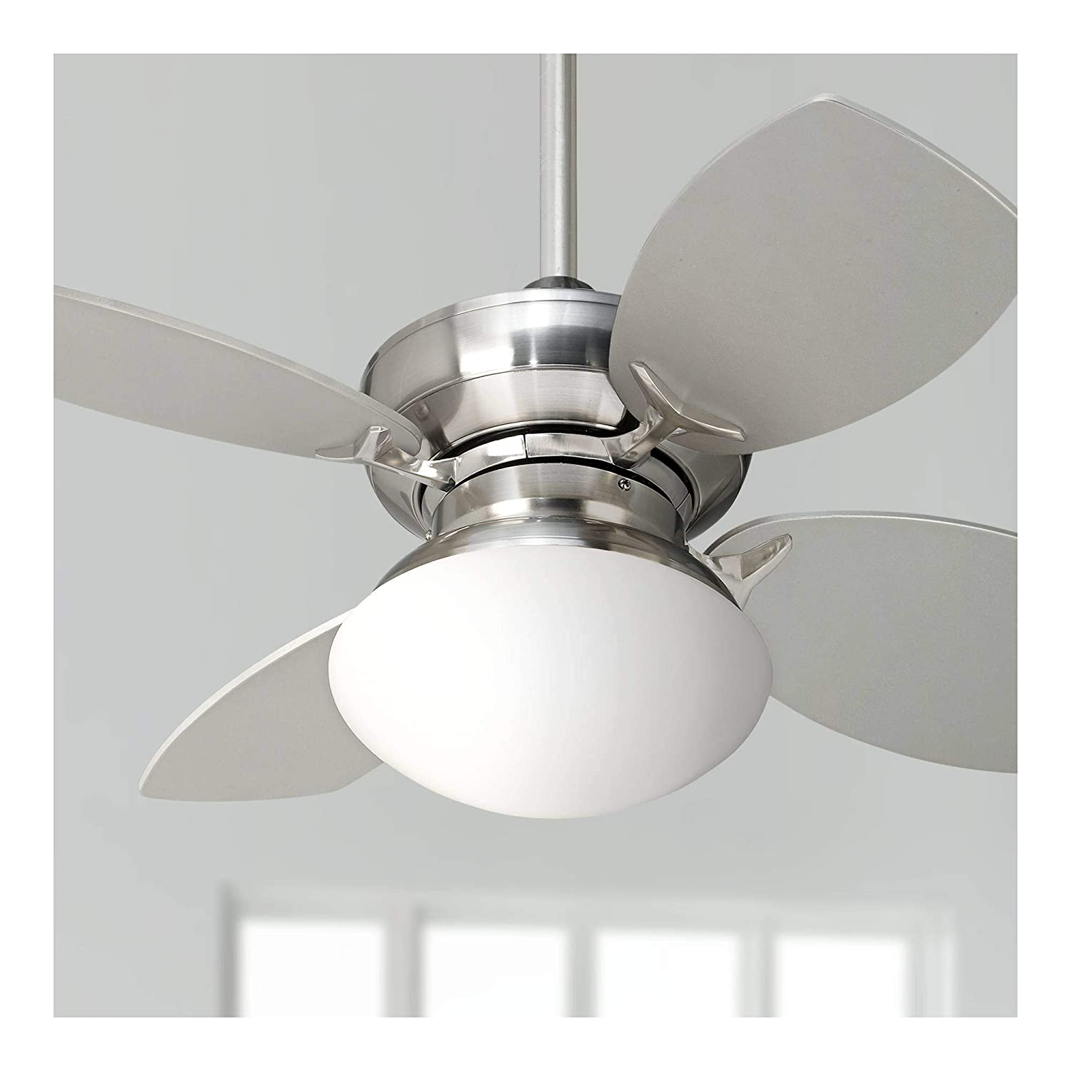 28 Hana Bay Modern Ceiling Fan with Light LED Brushed Nickel Opal Glass for Living Room Kitchen Bedroom Family Dining – Casa Vieja