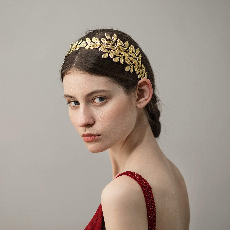 Luxury Gold Leaf Headpiece Garland Olive Laurel Wedding Crown Tiara Headband dfh