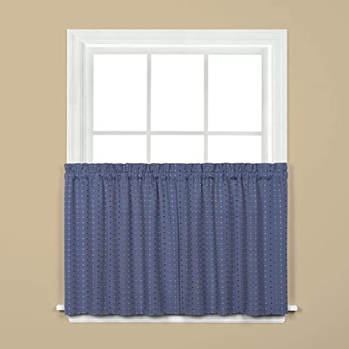Saturday Knight Hopscotch Denim Polyester Rod Pocket Tier Curtain – 57 in. W x 24 in. L