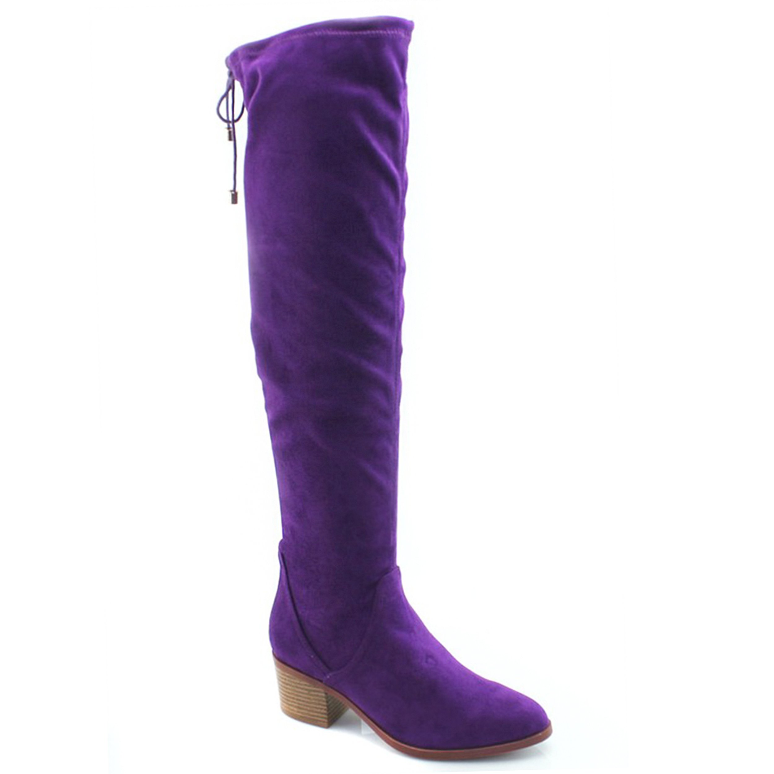 Womens Knee-High Fashion Sexy Comfort Over The Knee Pointy Toe Chunky Mid Heel Boots by SNJ
