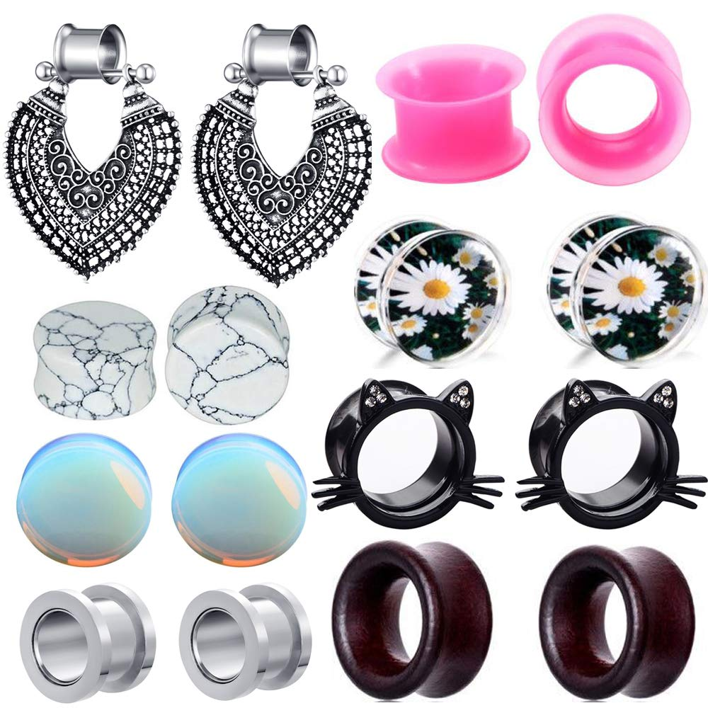 TIANCI FBYJS 8 Pairs Hot Woman Ear Gauges Dangle Tunnels Earrings Plugs Silicone Opal Stone Turquoise Wooden Gauges (8mm=0g)