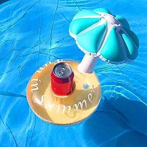 GEZICHTA Soporte Hinchable para Bebidas Flotante Paraguas Posavasos Piscina Fiesta Flotar Sus Bebidas con Estilo, Azul: Amazon.es: Deportes y aire libre