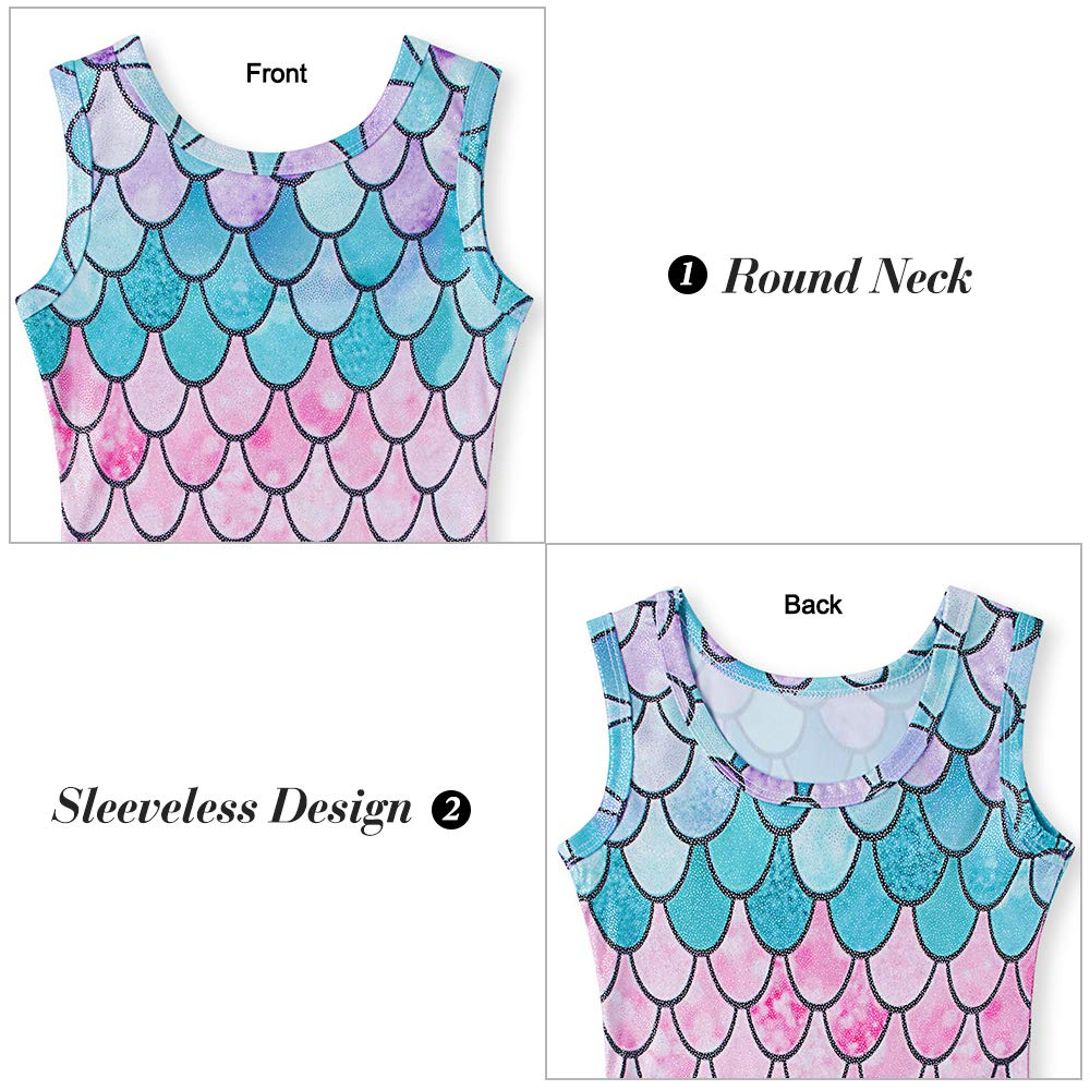 Dance Leotards for 6t 7t Kids Girls Colorful Mermaid Fish Scale Gymnastics Unitards Athletic Competition Dance Ballet with Shorts Gym Tumbling One Piece Romper Sparkly Biketard for Daily Wear