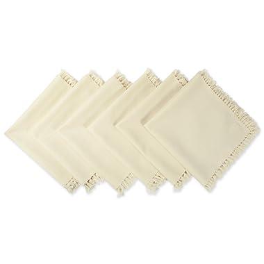 DII 100% Cotton, Oversized Basic Freinged 20x 20 Napkin, Set of 6, Natural, Set, Natual Fringe