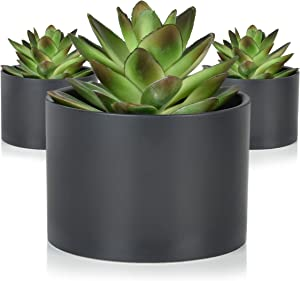 Seeko Succulents - 3 Pack - Potted Artificial Succulent Plants - Modern Desk Decor for The Home or Office