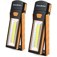 Everbrite 2 Piezas Luz de Trabajo, Focos LED, 3 Modos de Linterna Portátil Interior y Exterior para Camping, Reparación de Automóviles, Garaje, Emergencia