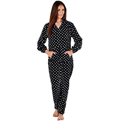 d5a4d2b004c8 womens fleece ones ladies all in one nightwear sleepwear pajama jumpsuit  sleep suit at Amazon Women s Clothing store