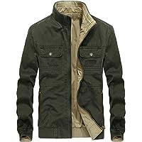 chouyatou Men's Casual Collar Full Zip Lightweight Reversible Bomber Jackets