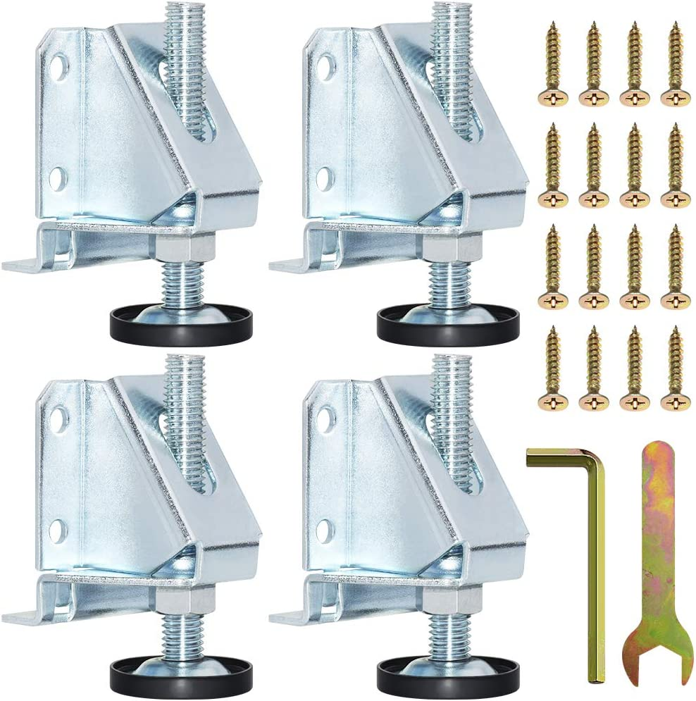 SUNMALL 4 Pack Leveling Feet, Heavy Duty Furniture Levelers, Adjustable Table Legs Leveler for Furniture, Table, Cabinets, Workbench, Shelving Units
