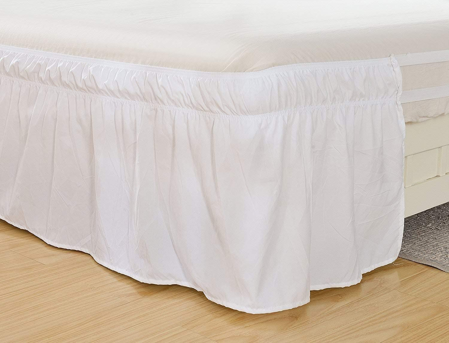 Rajlinen Wrap Around Bed Skirt -Polyester/Microfiber Elastic Dust Ruffle Three Fabric Sides Silky Soft & Wrinkle Free Classic Stylish Look in Your Bedroom (White, King /21)