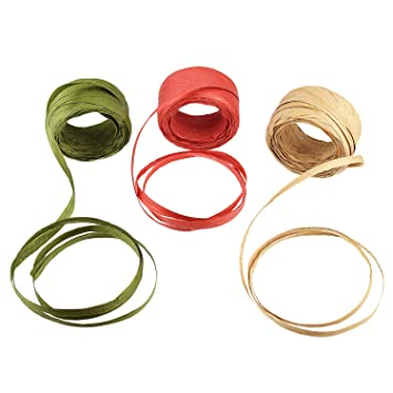 BTNOW 3 Rolls 3 Color 115 Yards/345 Feet Raffia Paper Ribbon Packing String  / Twine Valentine's Day Packing Ribbon 1/4 Inch Wide for Gift Box Packing