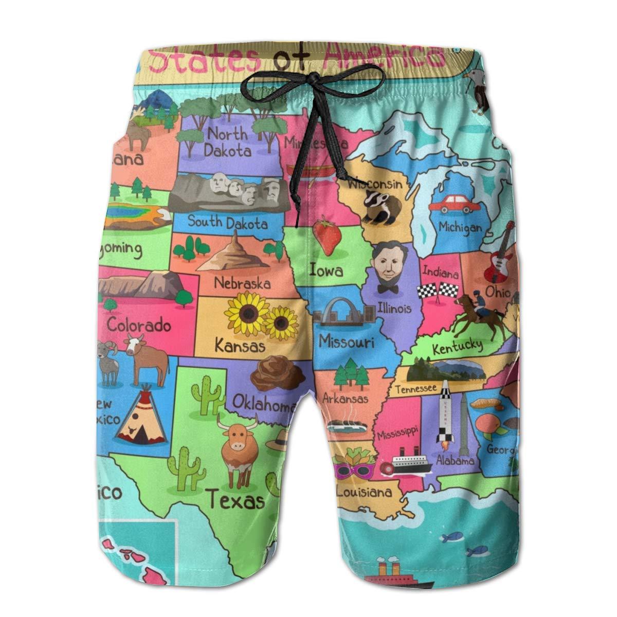 Zzfsxt Hardwood Mens 3D Print Graphic Quick Drying Summer Board Shorts Beach Board Shorts