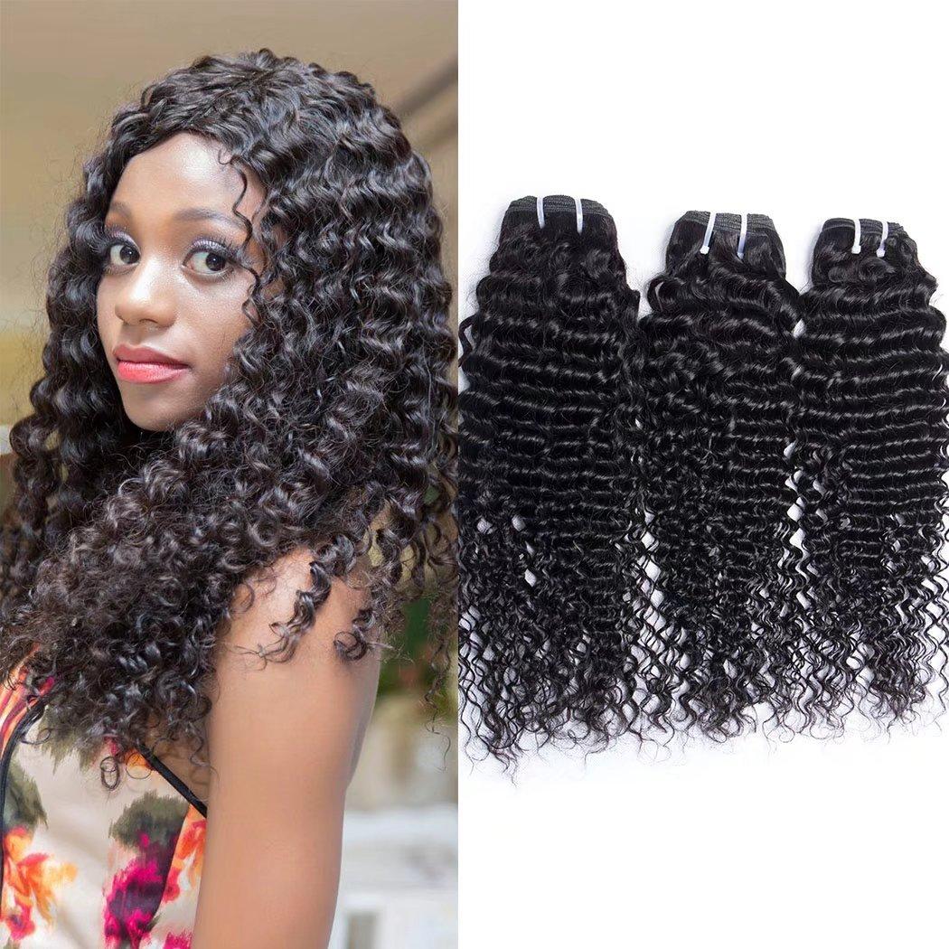 Maxine Qualité 7A brésiliens vierges vague profonde de cheveux bouclés 3trames 100% non transformés Cheveux humains Naturel Noir Couleur peuvent être teints et blanchi