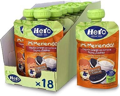 Hero Baby Mi Merienda - Bolsita de Yogurín Griego con Zumos de Fruta y Cookies, Sin Azúcares