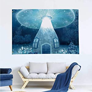 Tstyrea Glowing Mushroom House,Banner Flags with Grommets for Decor Vivid Color and UV Fade Resistant 3x5 Ft