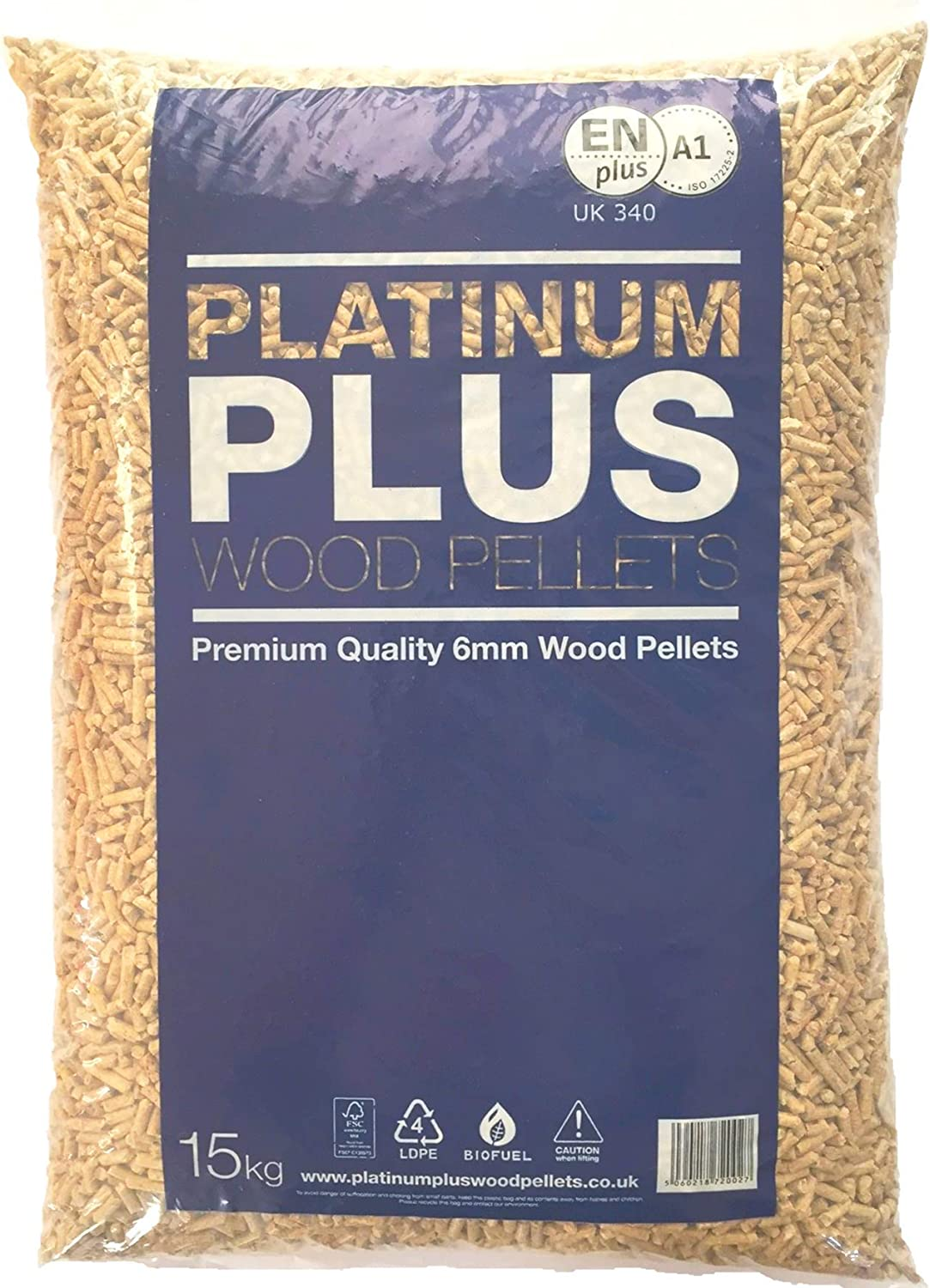 Platinum Plus Pellets de Madera 6mm EnplusA1 Pellets de biomasa 1x 15Kg